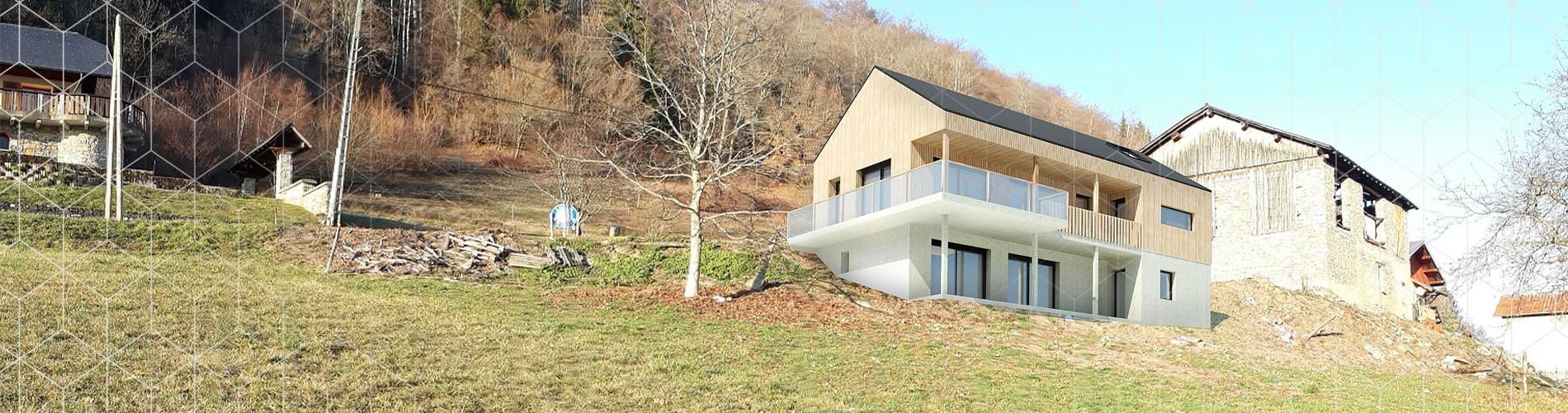Maison bois accrochée à la montagne