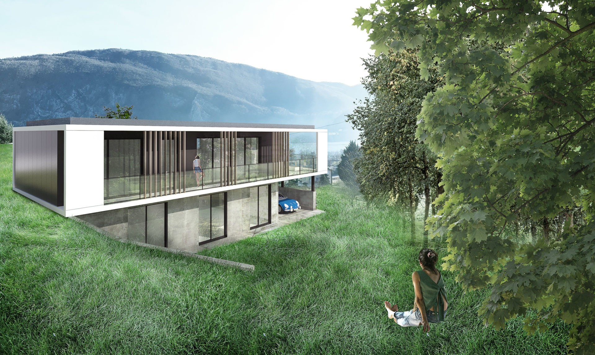 maison contemporaine toiture terrasse végétalisée béton brut savoie lac d'aiguebelette novalaise