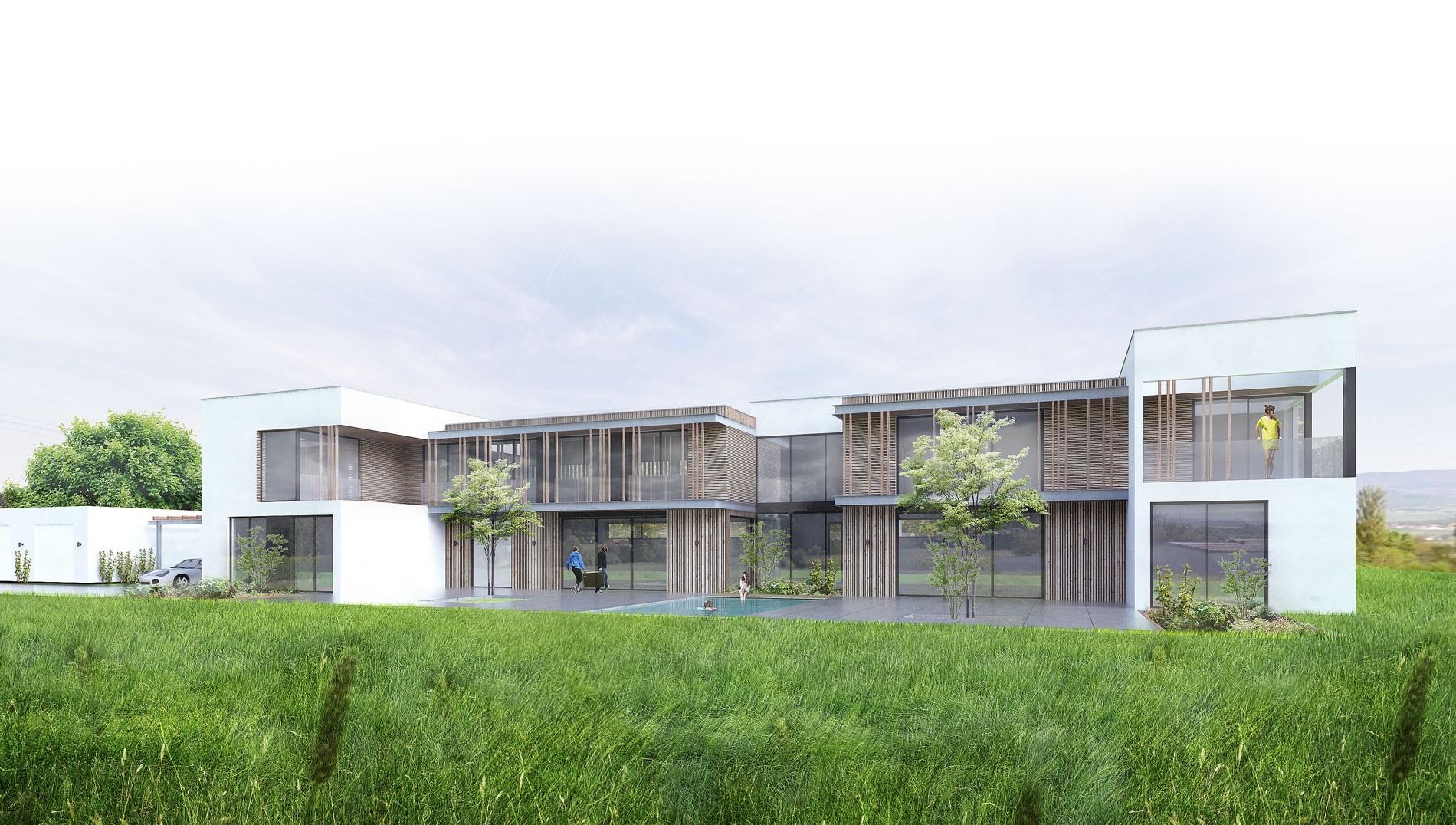maison contemporaine toiture terrasse bois metal-brique-piscine-spa-3
