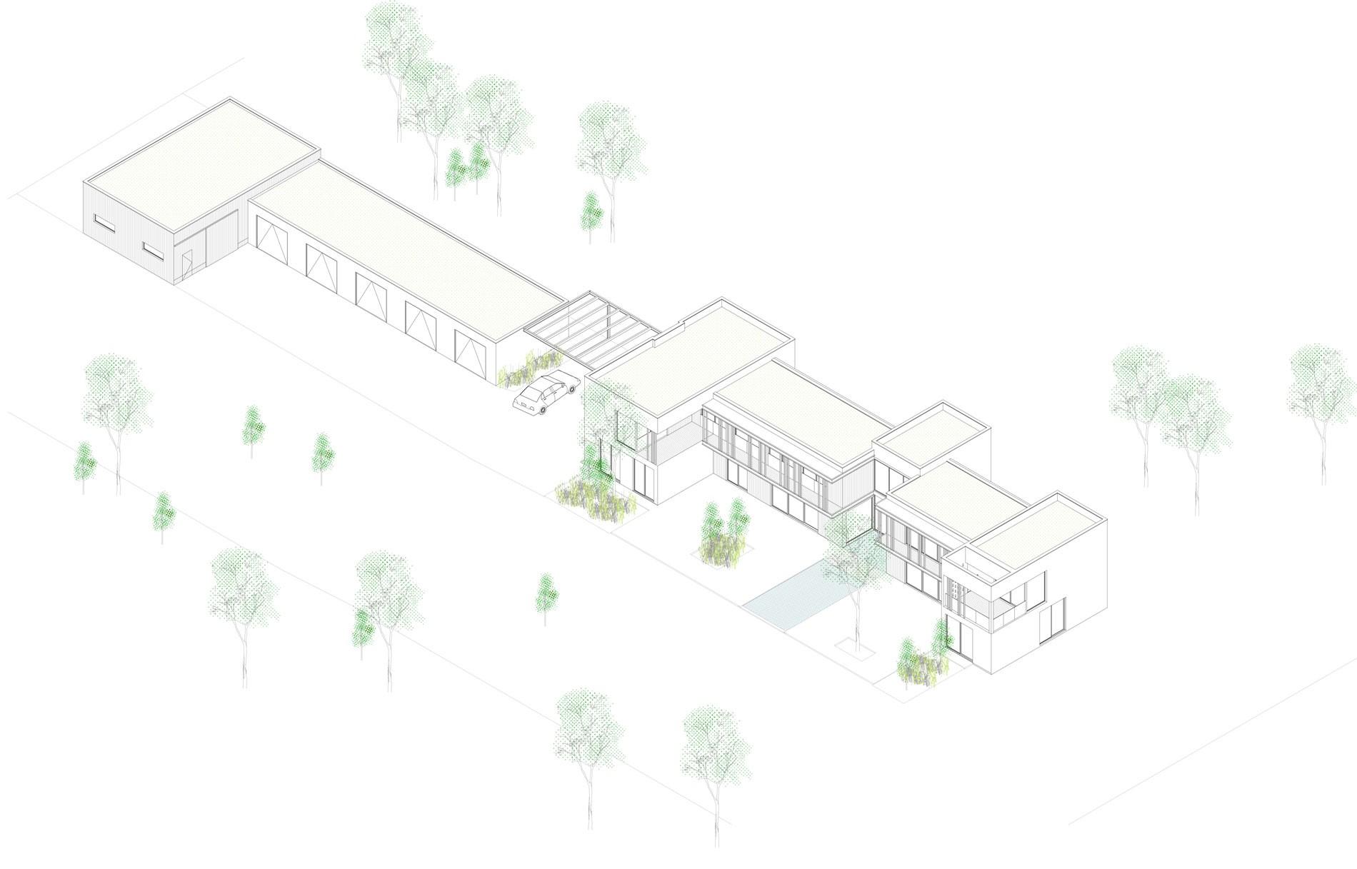 maison-contemporaine-toiture-terrasse-bois-metal-brique-piscine-spa-axo1