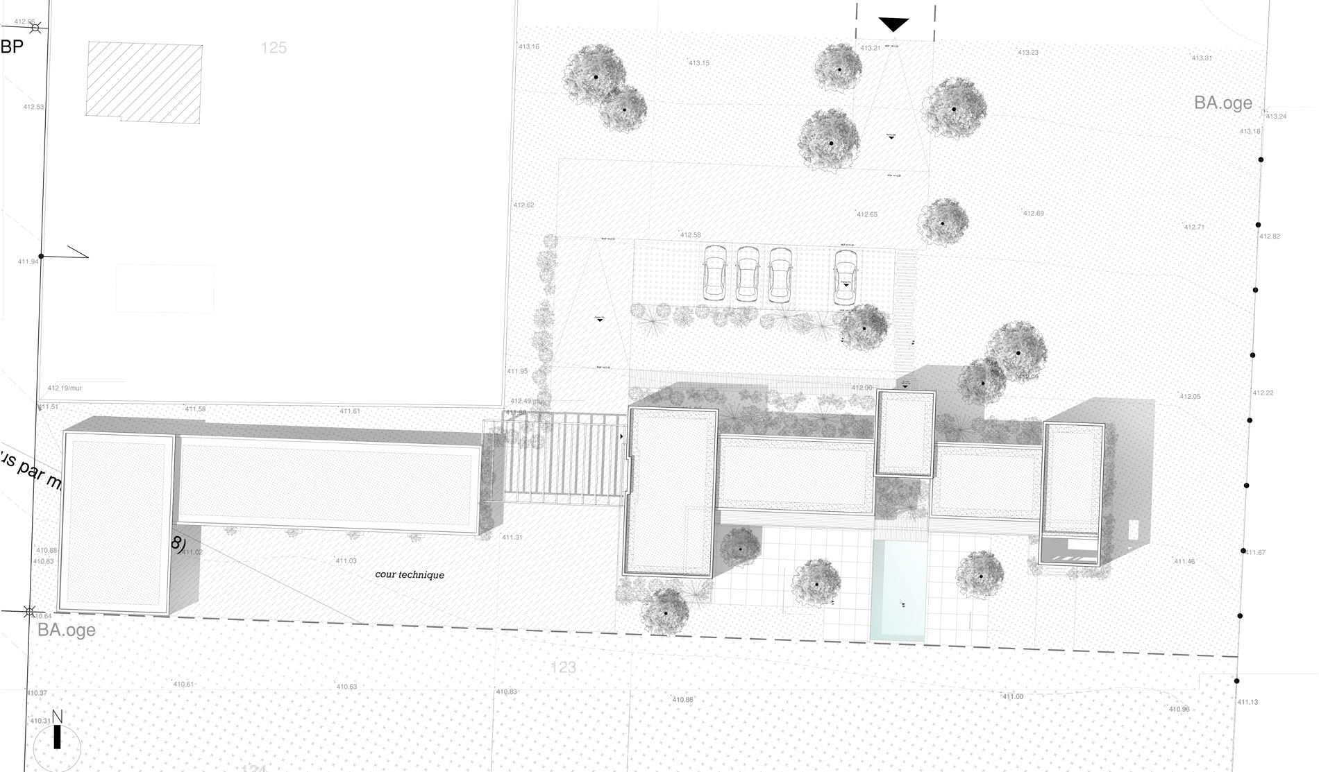 maison-contemporaine-toiture-terrasse-bois-metal-brique-piscine-spa-plan