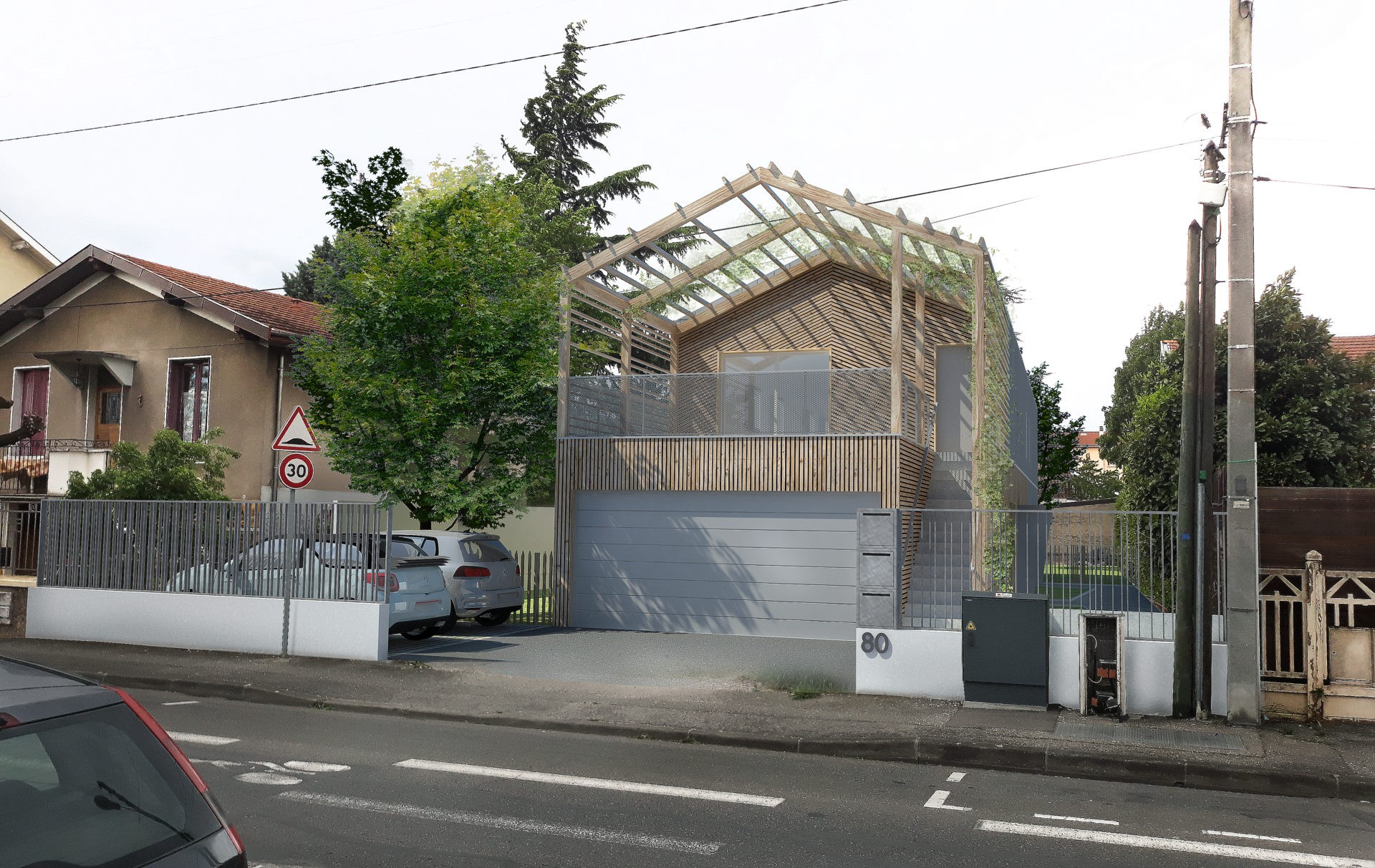 3 logements intermédiaires Bron Lyon métal bois habitat urbain 2